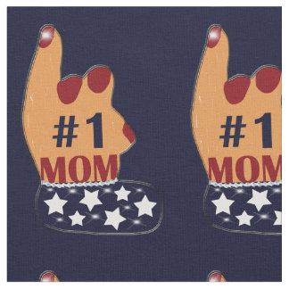Patriotic #1 Mom Sparkles Fabric
