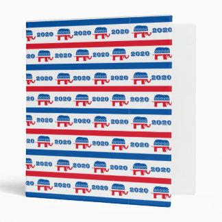 Patriotic 2020 Republican Elephant Stripes Binder