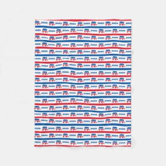 Patriotic 2020 Republican Elephant Stripes Fleece Blanket