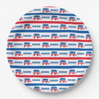 Patriotic 2020 Republican Elephant Stripes Paper Plate
