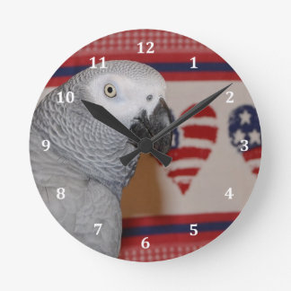 Patriotic 4th of July African Grey Clock