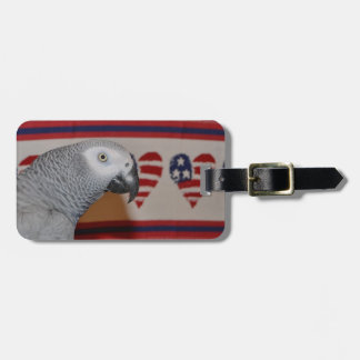 Patriotic 4th of July African Grey Tags For Bags