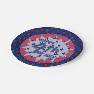 """Patriotic 4th of July Custom Paper Plates 7"""" 7 Inch Paper Plate"""