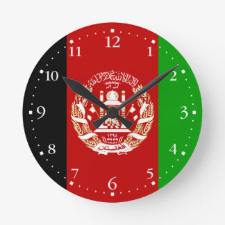 Patriotic Afghan Flag Round Clock