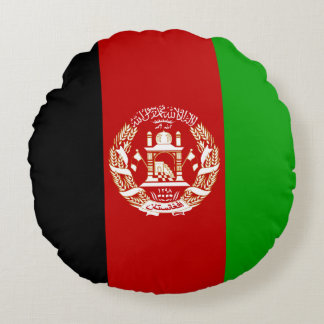 Patriotic Afghan Flag Round Pillow