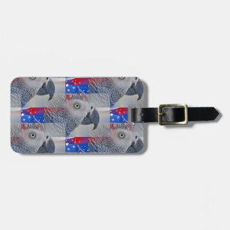 Patriotic African Grey Bag Tag