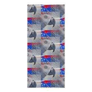 Patriotic African Grey Custom Rack Card