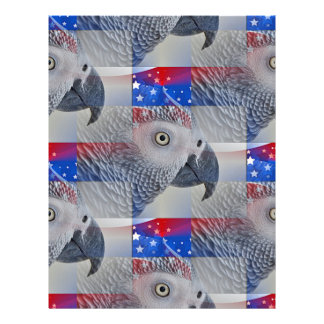 Patriotic African Grey Personalized Letterhead