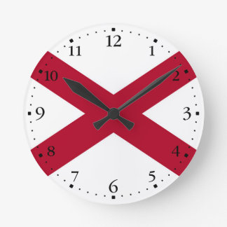 Patriotic Alabama State Flag Round Clock