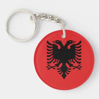 Patriotic Albanian Flag Double-Sided Round Acrylic Keychain