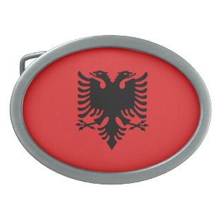 Patriotic Albanian Flag Oval Belt Buckles