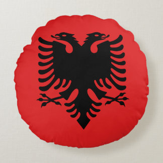 Patriotic Albanian Flag Round Pillow