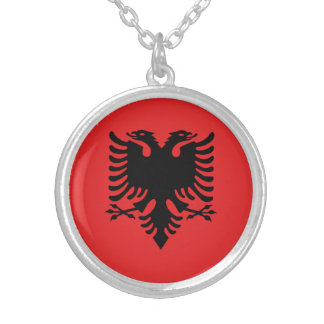 Patriotic Albanian Flag Silver Plated Necklace