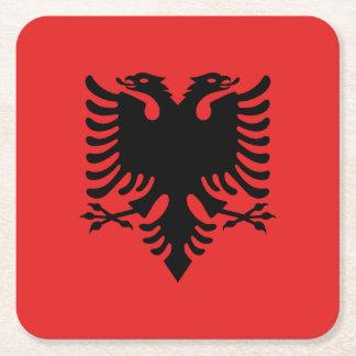 Patriotic Albanian Flag Square Paper Coaster