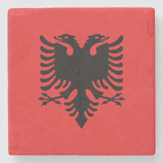 Patriotic Albanian Flag Stone Beverage Coaster