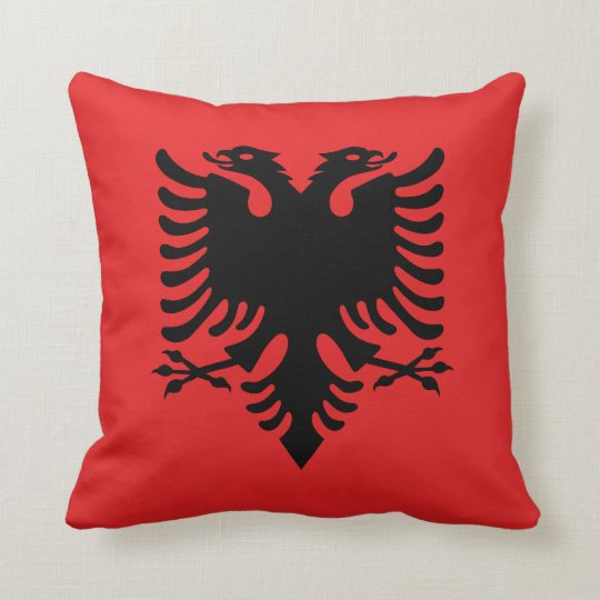 Patriotic Albanian Flag Throw Pillow