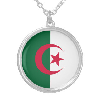 Patriotic Algerian Flag Silver Plated Necklace