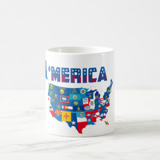 Patriotic America Map With States Flags Mug