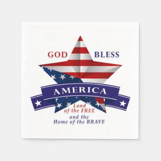 Patriotic America Star Design (v3) Disposable Napkin