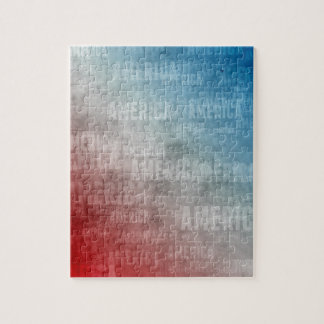 Patriotic America Text Graphic Jigsaw Puzzle