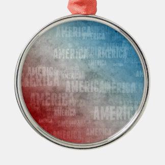 Patriotic America Text Graphic Silver-Colored Round Ornament