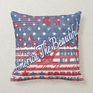 Patriotic America the Beautiful Independence Day Throw Pillow