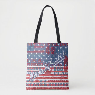 Patriotic America the Beautiful Independence Day Tote Bag