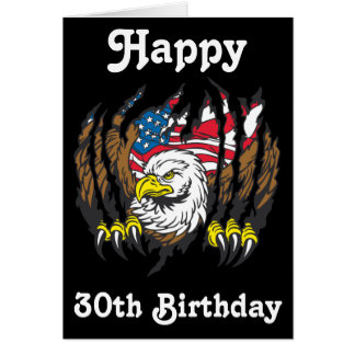 Patriotic American Bald Eagle USA Flag Card