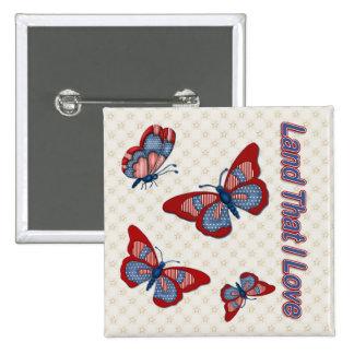 Patriotic American Butterflies Pin