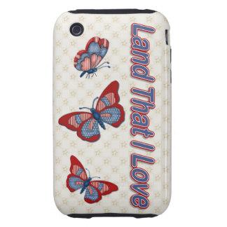 Patriotic American Butterflies Case-Mate  iPhone3G Tough iPhone 3 Case