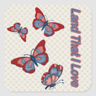 Patriotic American Butterflies Square Sticker