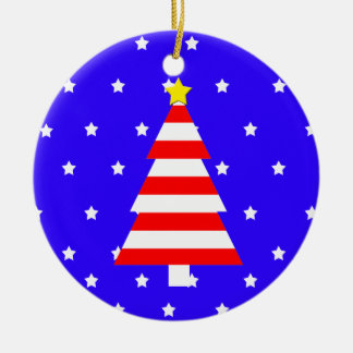 Patriotic American Christmas Striped Tree Ornament