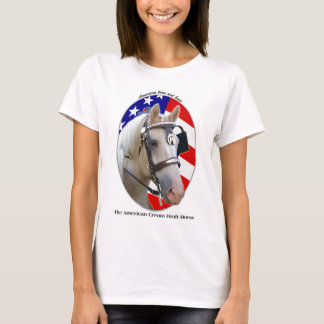 Patriotic American Cream Draft Horse T-Shirt