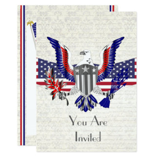 Patriotic American eagle, flag and shield Card