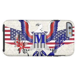 Patriotic American eagle personalized monogram Tough iPhone 6 Case