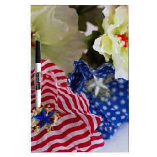 Patriotic American Flag 4th of July Flower Bouquet Dry Erase Boards