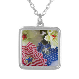 Patriotic American Flag 4th of July Flower Bouquet Silver Plated Necklace