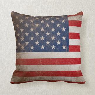 Patriotic American Flag 50 Stars Throw Pillow