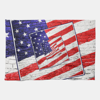 Patriotic American Flag Abstract Hand Towels