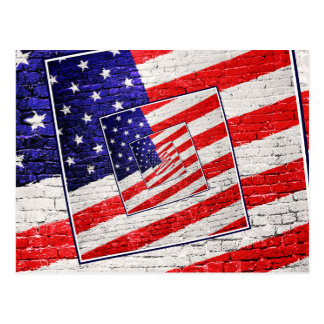 Patriotic American Flag Abstract Postcard