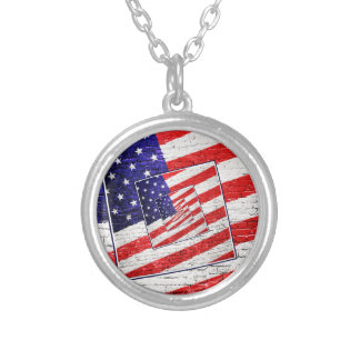 Patriotic American Flag Abstract Silver Plated Necklace