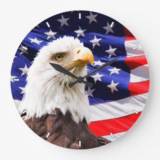 Patriotic American Flag and Bald Eagle Wall Clock