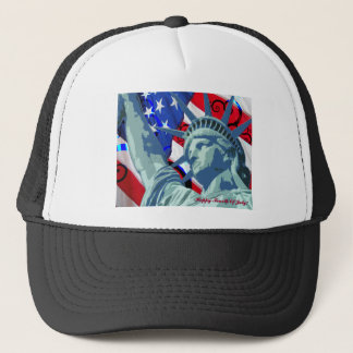 Patriotic American Flag and Statue of Liberty Trucker Hat