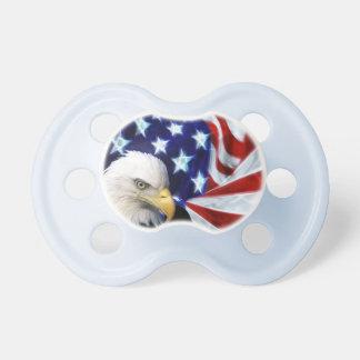 Patriotic American Flag & Bald Eagle Baby Pacifiers