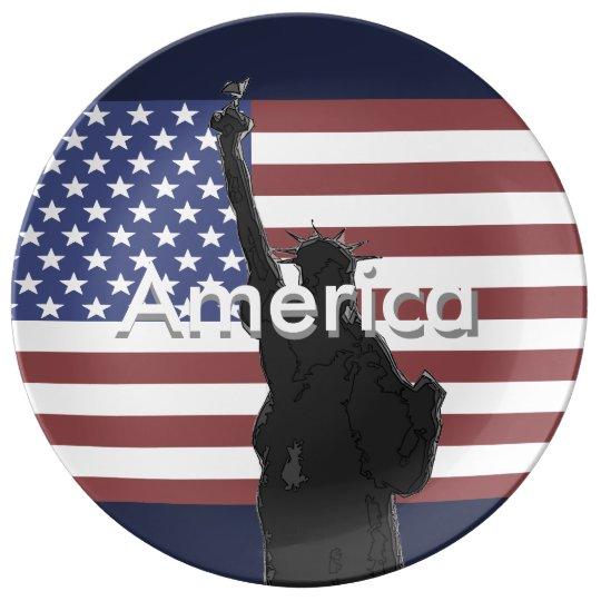 Patriotic American Flag Collectors Plate USA