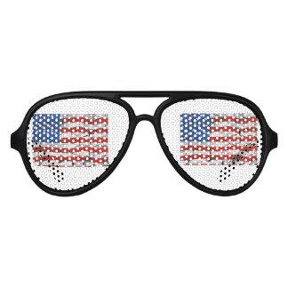 Patriotic American Flag Cracked Worn Paint Aviator Sunglasses