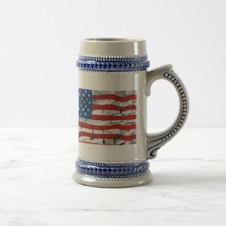 Patriotic American Flag Cracked Worn Paint Beer Stein