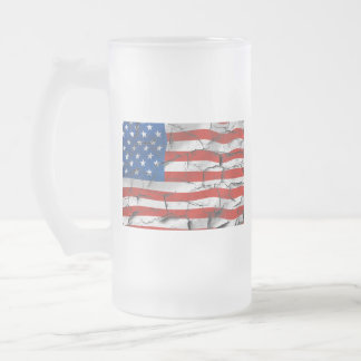 Patriotic American Flag Cracked Worn Paint Frosted Glass Beer Mug