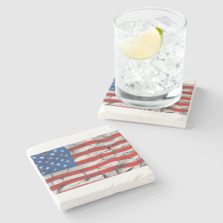 Patriotic American Flag Cracked Worn Paint Stone Coaster