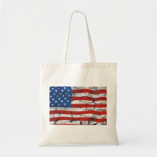 Patriotic American Flag Cracked Worn Paint Tote Bag